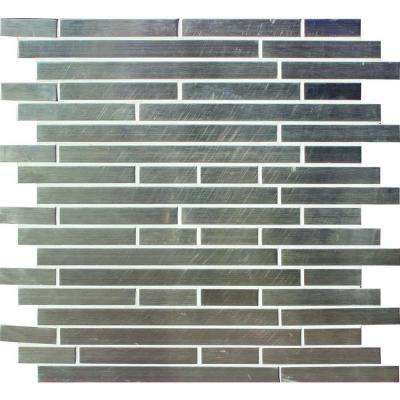 Silver Interlocking 12 in. x 12 in. x 8 mm Metal Mosaic Wall Tile (10 sq. ft. / case)