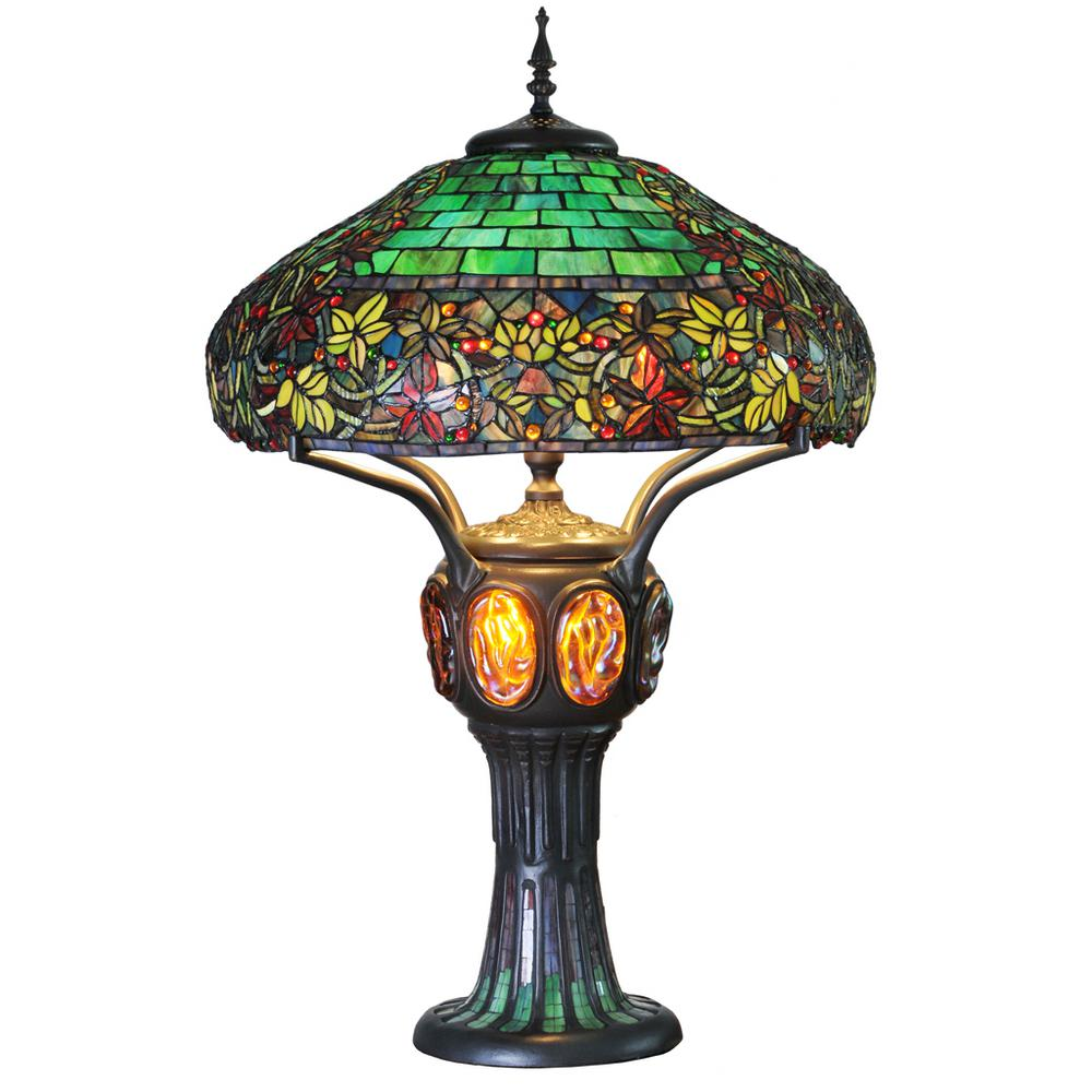 River of goods 34 in multi colored stained glass table lamp with multi colored stained glass table lamp with turtleback and aloadofball