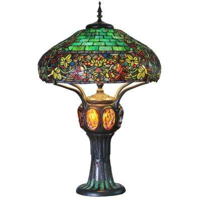 34 in. Multi-Colored Stained Glass Table Lamp with Turtleback and Mosaic Base