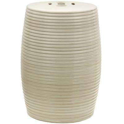 Oriental Furniture Beige Ribbed Porcelain Ottoman