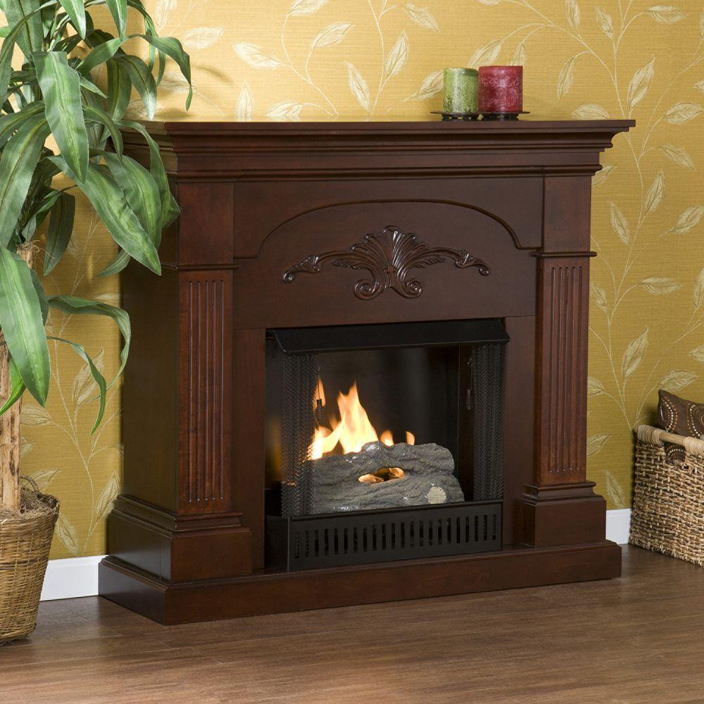 Southern Enterprises Sicilian Harvest 45 in. Gel Fuel Fireplace in Mahogany