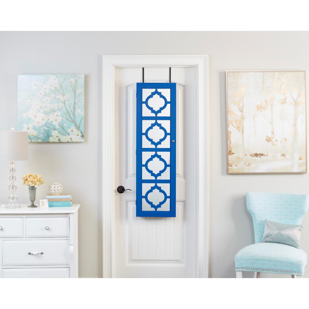 Blue Designer Jewelry Armoire with Decorative Mirror
