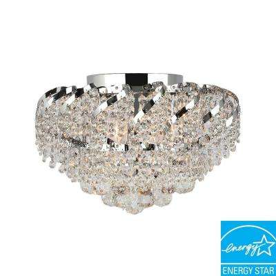 Empire Collection 6-Light Chrome and Clear Crystal Flushmount