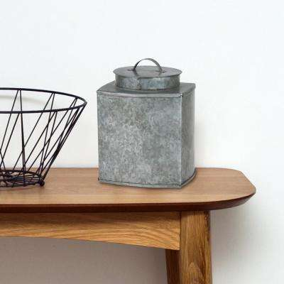 Square Galvanized Metal Container with Lid