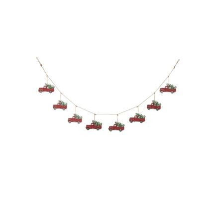 5.9 ft. L Metal Red Truck Garland