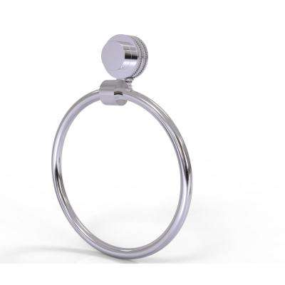 Venus Collection Towel Ring with Dotted Accent in Polished Chrome