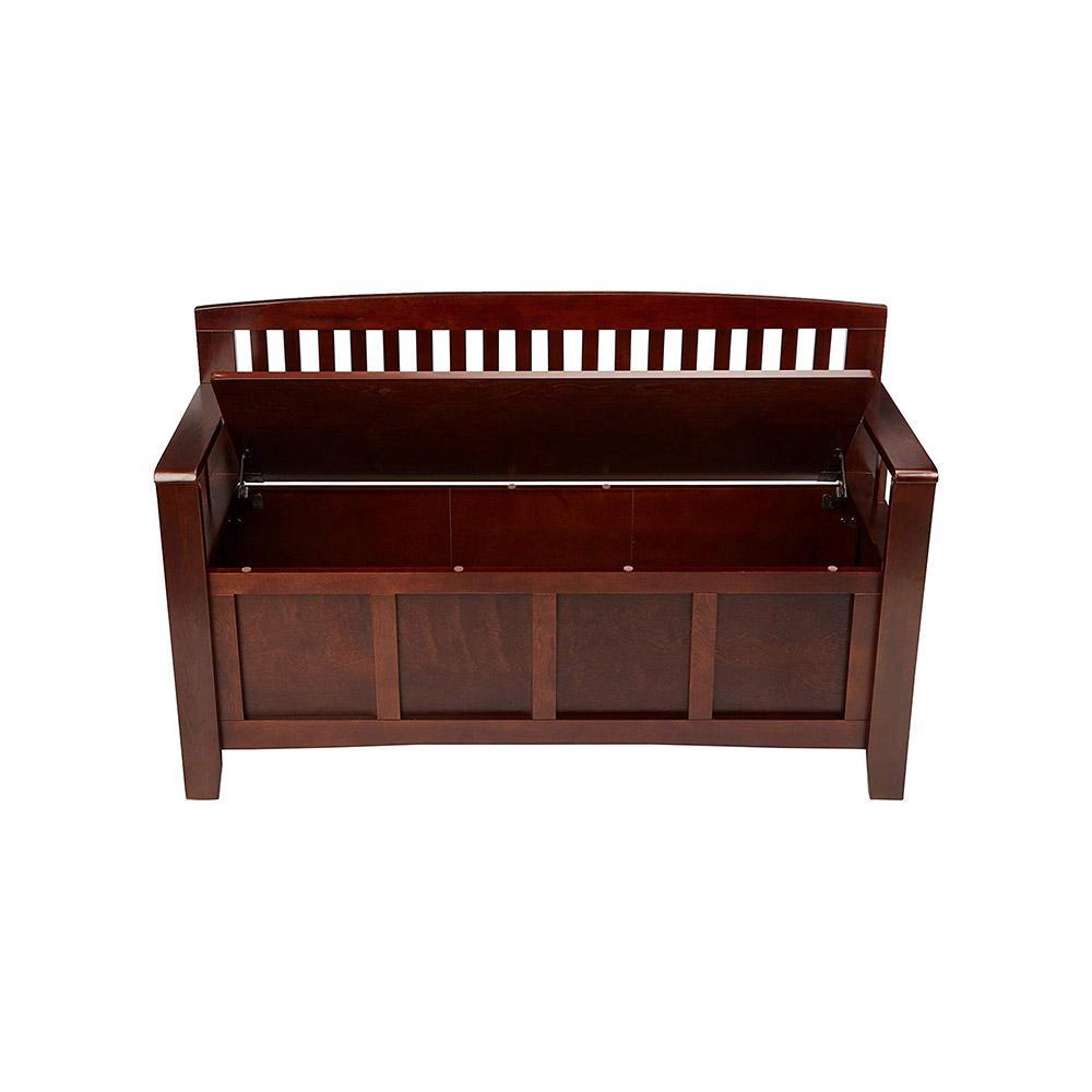 Linon Home Decor Cynthia Chinese Hardwood Mdf Plywood Storage Bench In Walnut