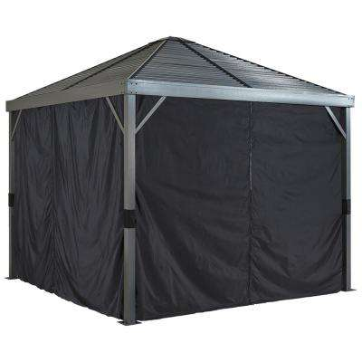 8 ft. W x 8 ft. H Curtains (set of 4) for Sanibel Sun Shelter in Black with Hooks (Gazebo Not Included)