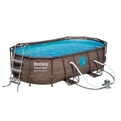 14 ft. x 8 ft. Rectangle 39.6 in. D Power Swim Vista Inflatable Pool with Pump and AquaCrawl Vacuum
