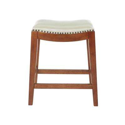 Metro 24 in. Cream Bonded Leather Saddle Stool with Nail Head Accents and Espresso Legs