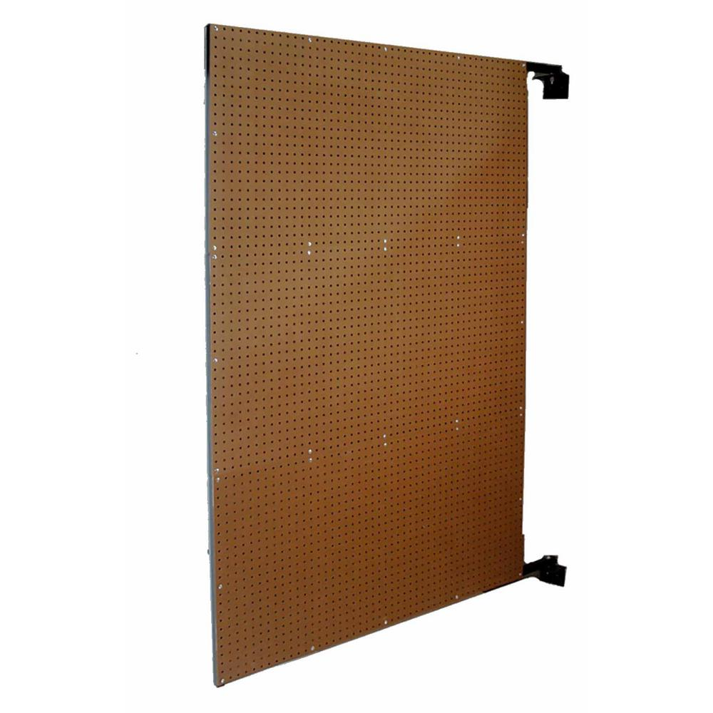 Triton Products XtraWall 48 in. W x 72 in. H x 1-1/2 in. D Wall Mount Double-Sided Swing Panel Pegboard, Brown/Tempered Wood