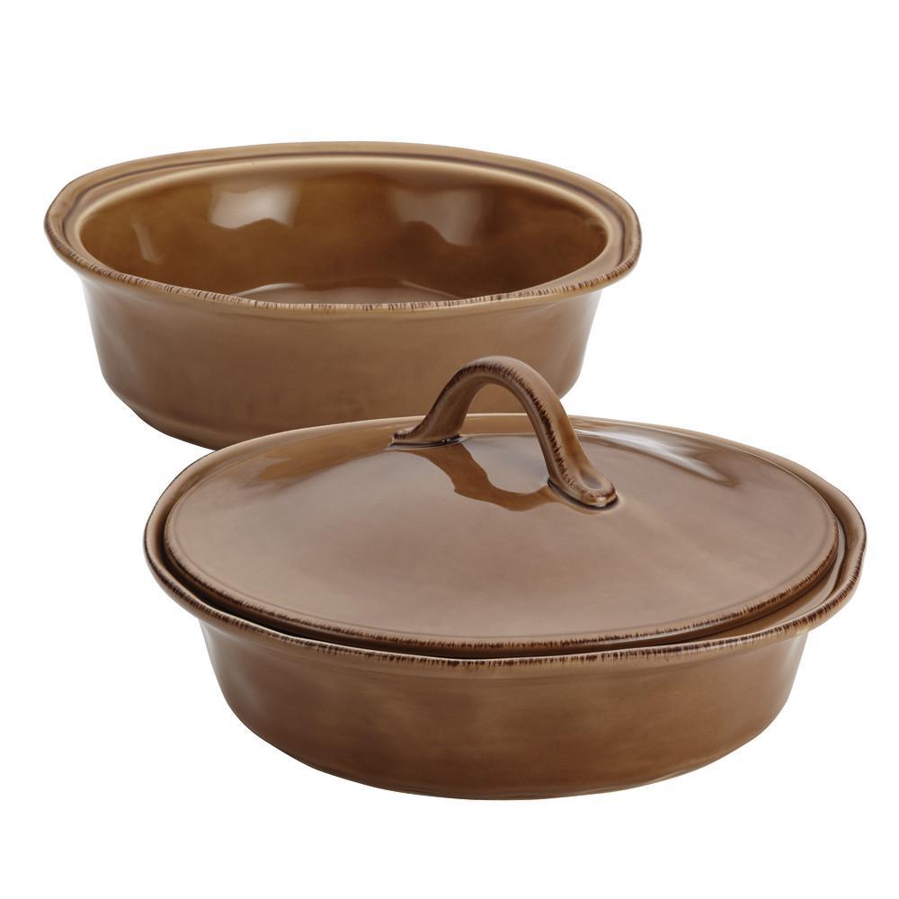 Cucina Stoneware 3-Piece Round Baker Set with Lid