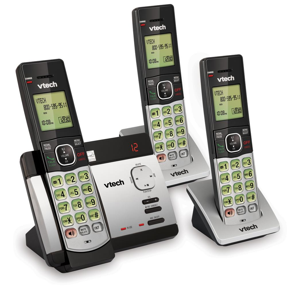 CS5129-3 3 Handset Black Vtech Cordless Phone with Answering // Caller ID