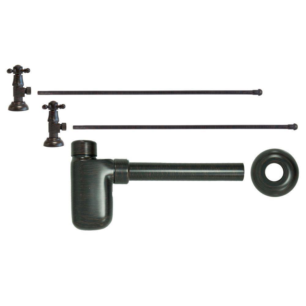 3/8 in. x 20 in. Brass Lavatory Supply Lines with Cross Handle Shutoff Valves and Decorative Trap in Venetian Bronze Barclay provides all your essential bathroom needs. Replace unsightly plumbing under your exposed sink with this decorative lavatory trap and supplies. Enjoy the convenience of accessible water shut-off. Color: Venetian Bronze.