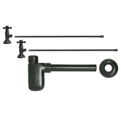 3/8 in. x 20 in. Brass Lavatory Supply Lines with Cross Handle Shutoff Valves and Decorative Trap in Venetian Bronze
