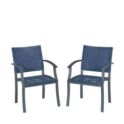 Stone Veneer Black Weave Patio Dining Chair (2-Pack)