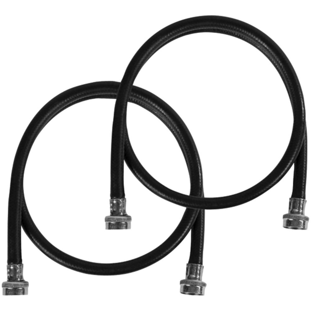 CERTIFIED APPLIANCE ACCESSORIES 5 ft. EPDM Washing Machine Hoses Black (2-Pack) For years, licensed plumbers, electricians and appliance installers have relied on CERTIFIED APPLIANCE ACCESSORIES for their power cords, hoses and connectors. Now you can too. Enjoy the convenience offered by this 2 pack of washing machine hoses from CERTIFIED APPLIANCE ACCESSORIES. Their flexibility and durability ensure a reliable connection for your next home installation project. These high-quality washing machine hoses have been thoroughly tested and are backed by a 5-year limited warranty. Always consult your appliances installation instructions. Check your appliance's manual for the correct specifications to ensure these are the right hoses for you. Thank you for choosing CERTIFIED APPLIANCE ACCESSORIES Your Appliance Connection Solution. Color: Black.