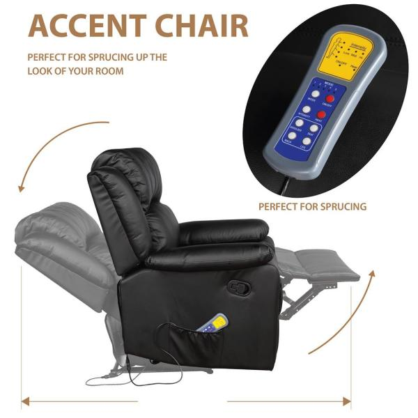 Merax Black Power Massage Reclining Chair with Heat and