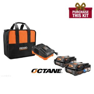 Deals on Ridgid 18-Volt OCTANE 3.0 Ah Batteries and Charge w/Tool Bag