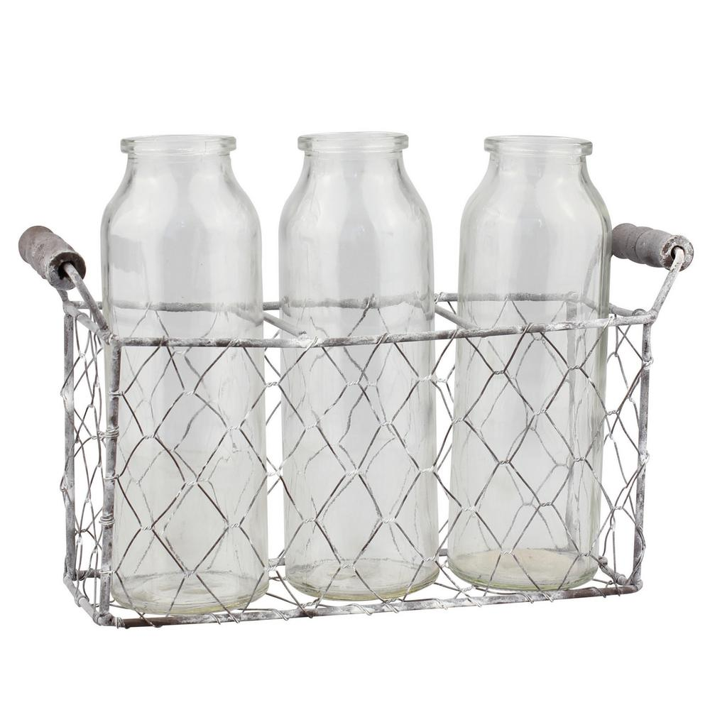 Stonebriar Collection Clear Wire And Glass Milk Bottles