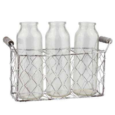 Clear Wire and Glass Milk Bottles With Caddy (Set of 3)