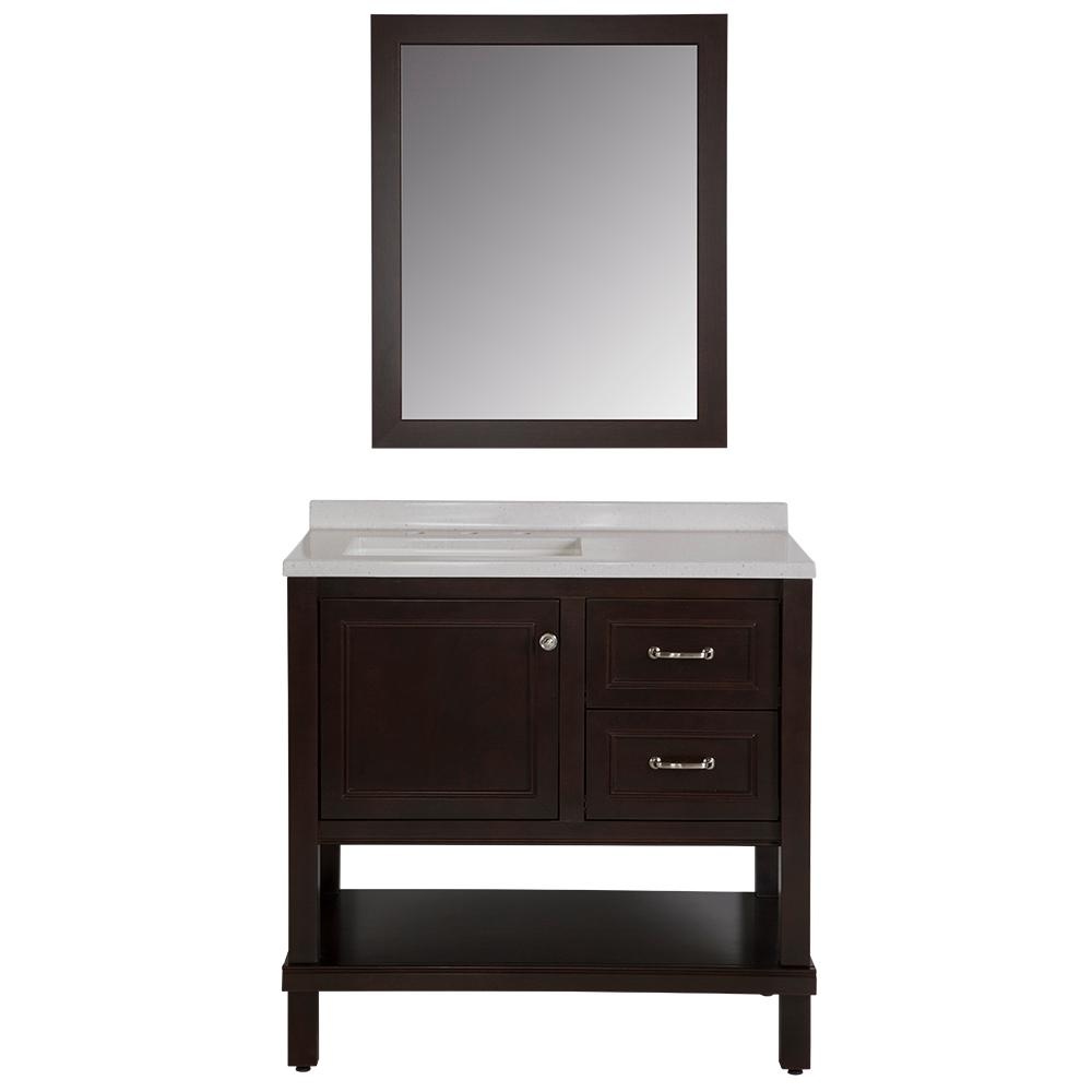 Home Decorators Collection Kimpson 36.5 in. W Vanity in Chocolate with Solid Surface Vanity Top in Titanium with White Basin and Mirror
