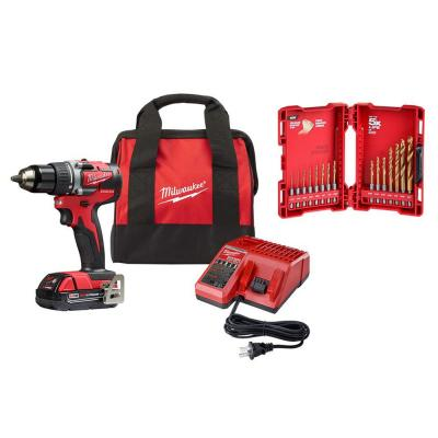 M18 18-Volt Lithium-Ion Brushless Cordless 1/2 in. Compact Drill/Driver Kit with Titanium Drill Bit Set (15-Piece)