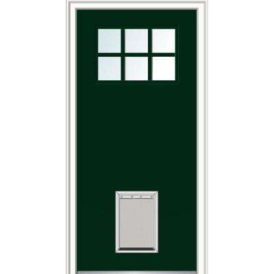 36 in. x 80 in. Classic Right-Hand Inswing 6-Lite Clear Painted Fiberglass Smooth Prehung Front Door with Large Pet Door