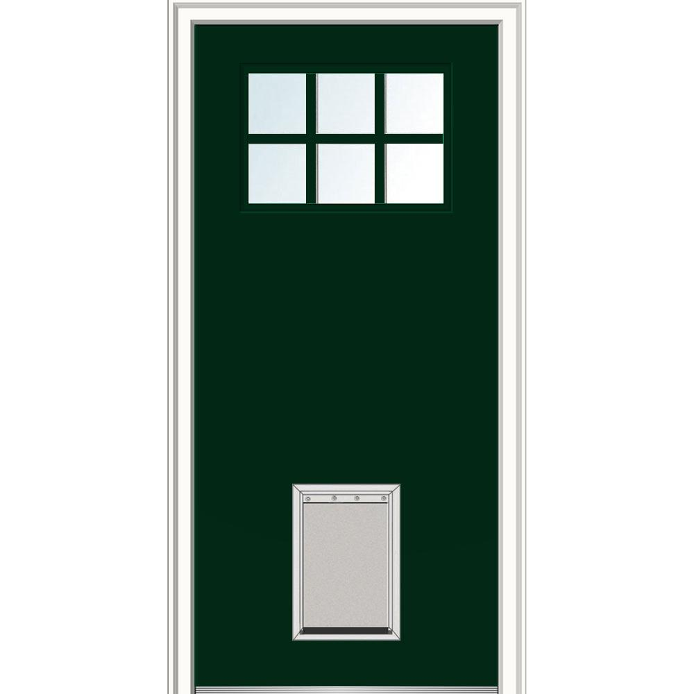 Mmi Door 32 In X 80 In Craftsman 6 Lite Low E Right Hand Painted Fiberglass Smooth Prehung