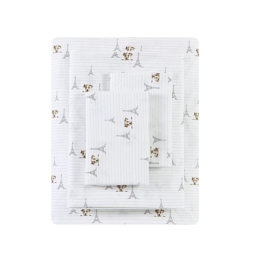 Ed Ellen Degeneres Augie In Paris 4 Piece White T200 Cotton Full Sheet Set Ushsa01168405 The Home Depot