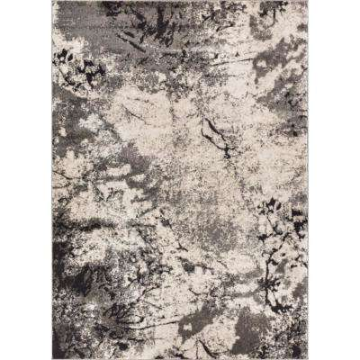 Luxury Supurasshu Grey 7 ft. 10 in. x 10 ft. 6 in. Modern Industrial Marbel Water Color Area Rug
