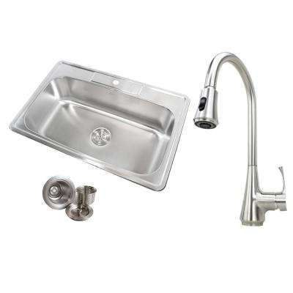 Topmount Drop-In 18-Gauge Stainless Steel 33 in. x 22 in. x 9 in. 1 Faucet Hole Single Bowl Kitchen Sink & Faucet Combo