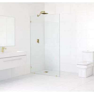 35 in. x 78 in. Frameless Fixed Shower Door in Polished Brass without Handle