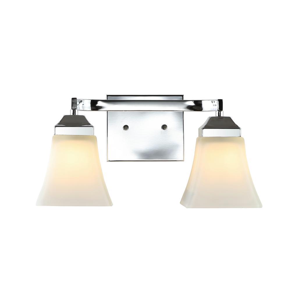 Staunton 15 in. 2-Light Iron/Glass Modern Cottage LED Vanity Light, Chrome