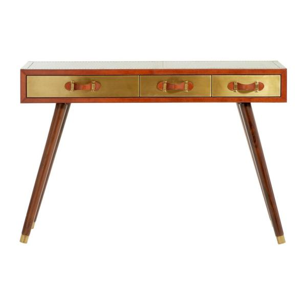 Large 3-Drawer Brass and Leather Console Table, 48'' x 31''