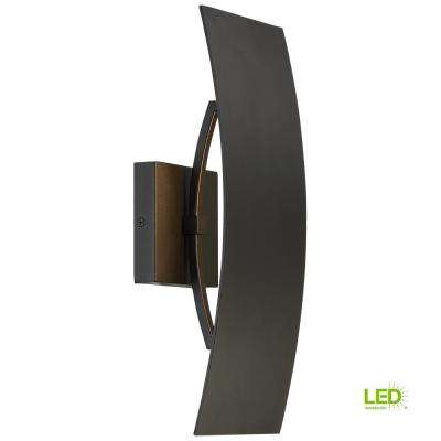 Gardi 1-Light Sand Black Outdoor Integrated LED Wall Mount Lantern Large with Etched Glass