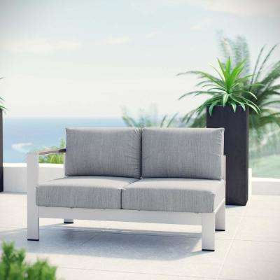 Shore Patio Aluminum Left Arm Outdoor Sectional Chair Loveseat in Silver with Gray Cushions