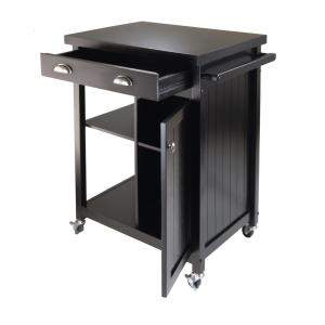 Internet 301148234 Winsome Wood Timber Black Kitchen Cart With Storage