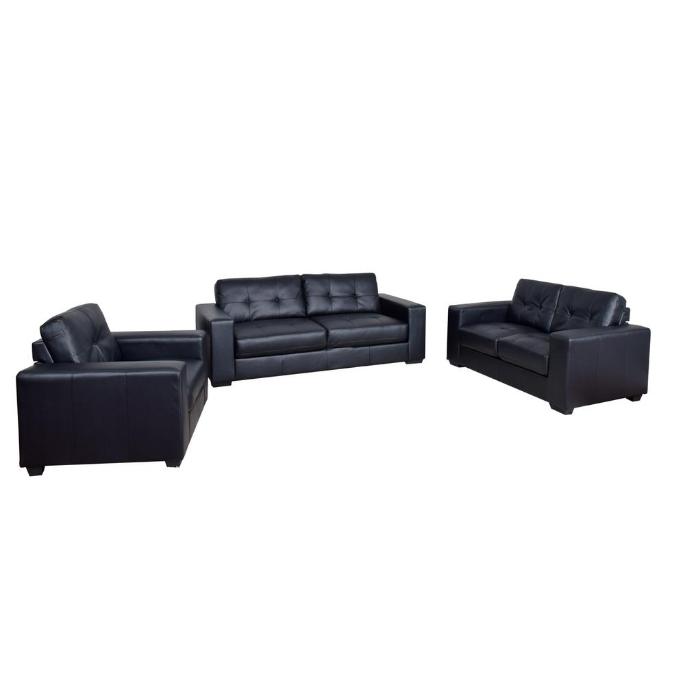 Corliving Club 3 Piece Tufted Black Bonded Leather Sofa Set