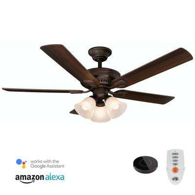 Campbell 52 in. LED Mediterranean Bronze Ceiling Fan with Light Kit Works with Google Assistant and Alexa