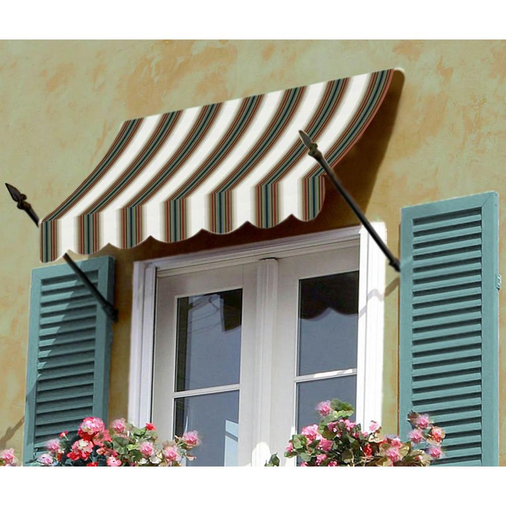 AWNTECH 4 ft. New Orleans Awning (44 in. H x 24 in. D) in Burgundy / Forest / Tan Stripe