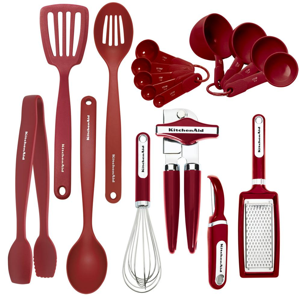 Kitchenaid 17 Piece Utensils Set In Red Kc448bxera The Home Depot