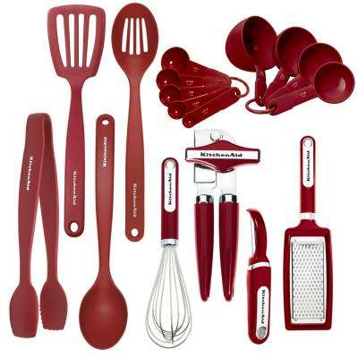 17-Piece Utensils Set in Red