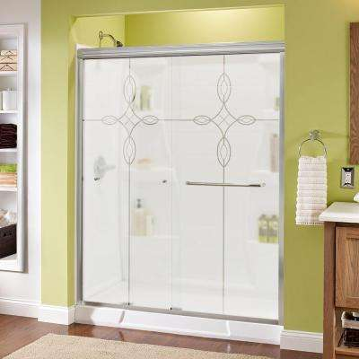 Simplicity 60 in. x 70 in. Semi-Frameless Sliding Shower Door in Chrome with Tranquility Glass