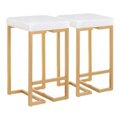 Midas 26 in. White Velvet and Gold Counter Stool (Set of 2)