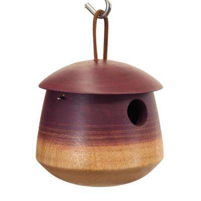 6 in. Plum Mango Wood Tumble Bird House