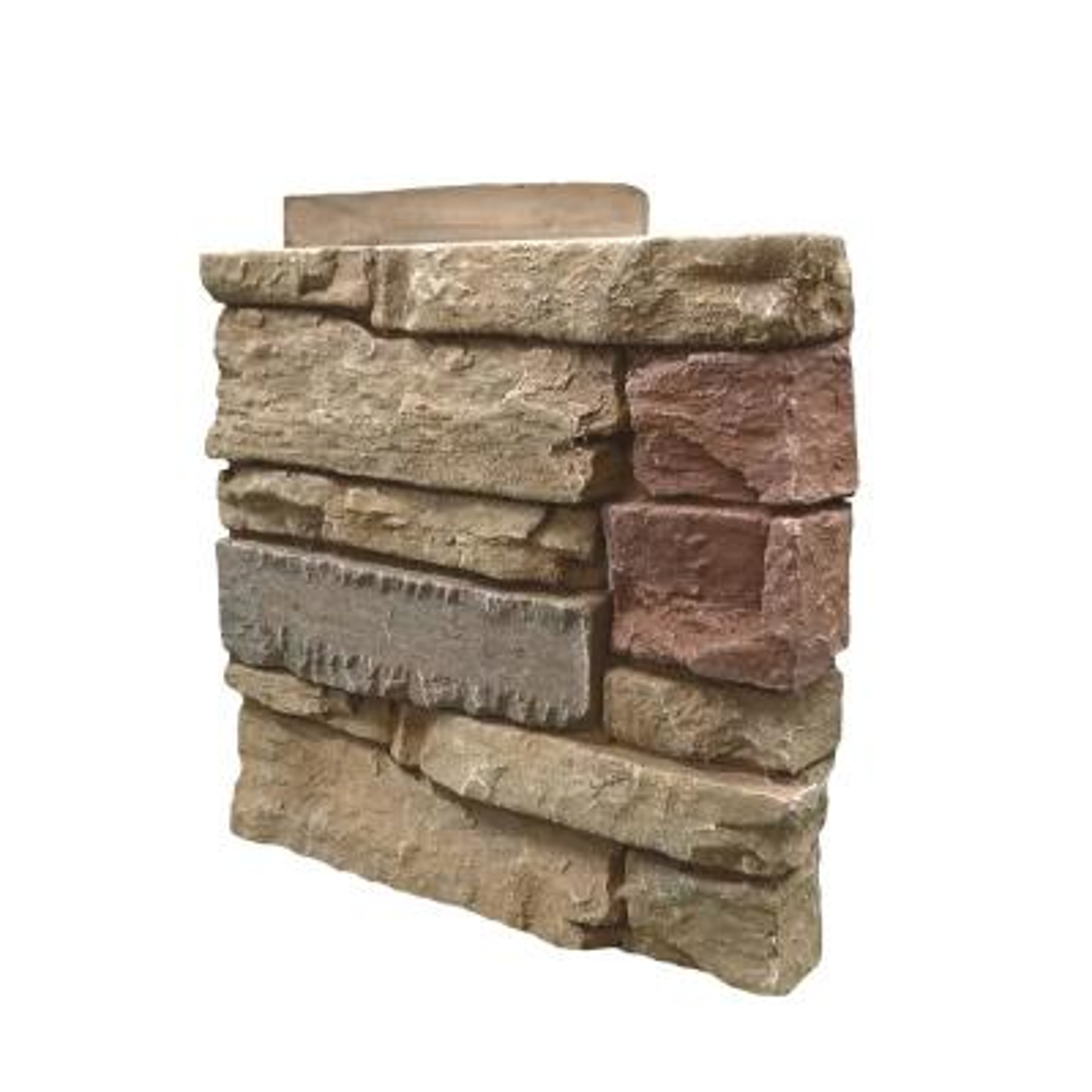 Stacked Stone Desert Sunrise 12 in. x 1.375 in. x 12 in. Faux Stone Siding Right Corner Panel