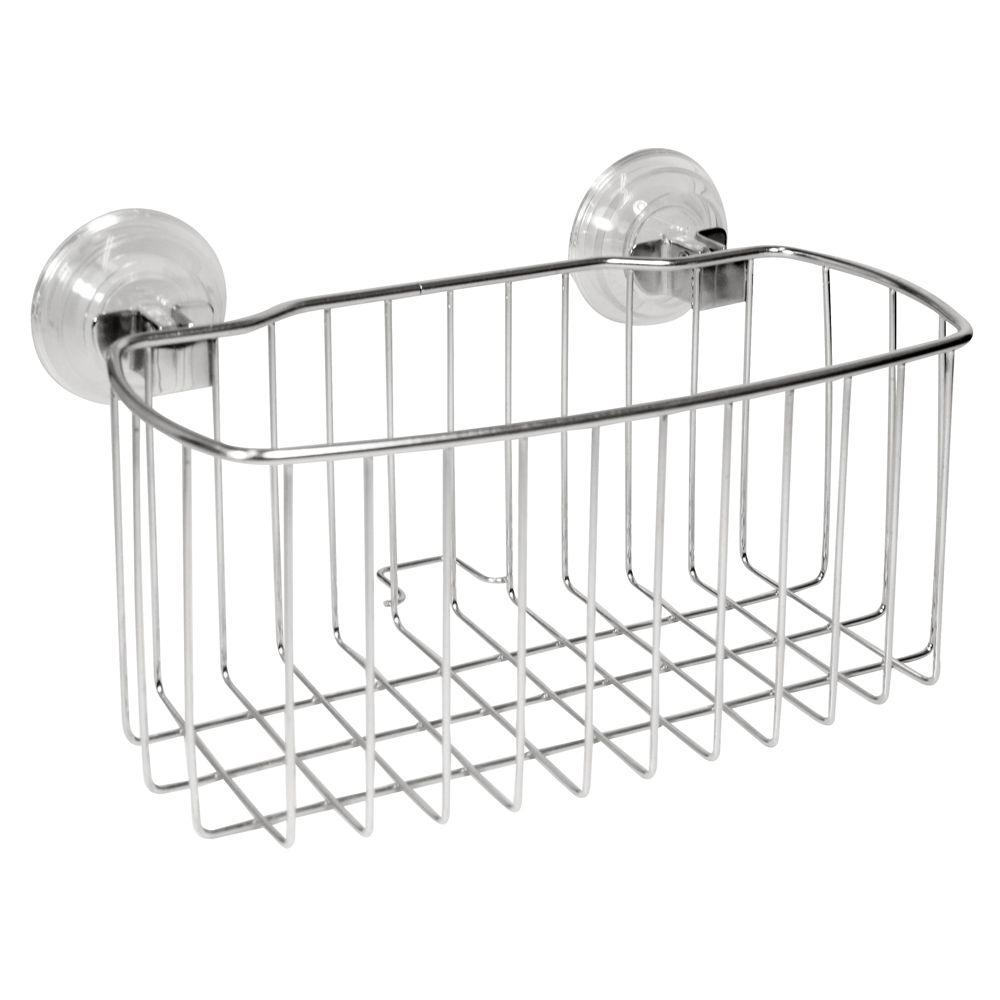 InterDesign Reo PowerLock Shower Basket In Stainless Steel