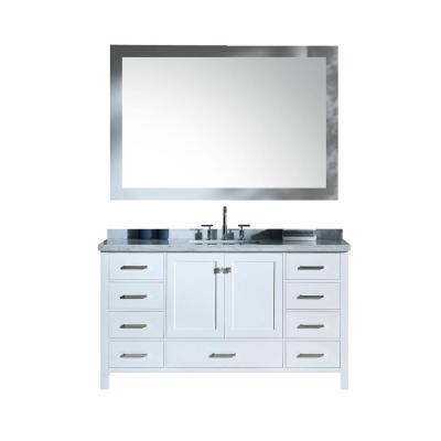 Cambridge 61 in. Bath Vanity in White with Marble Vanity Top in Carrara White with White Basins and Mirror