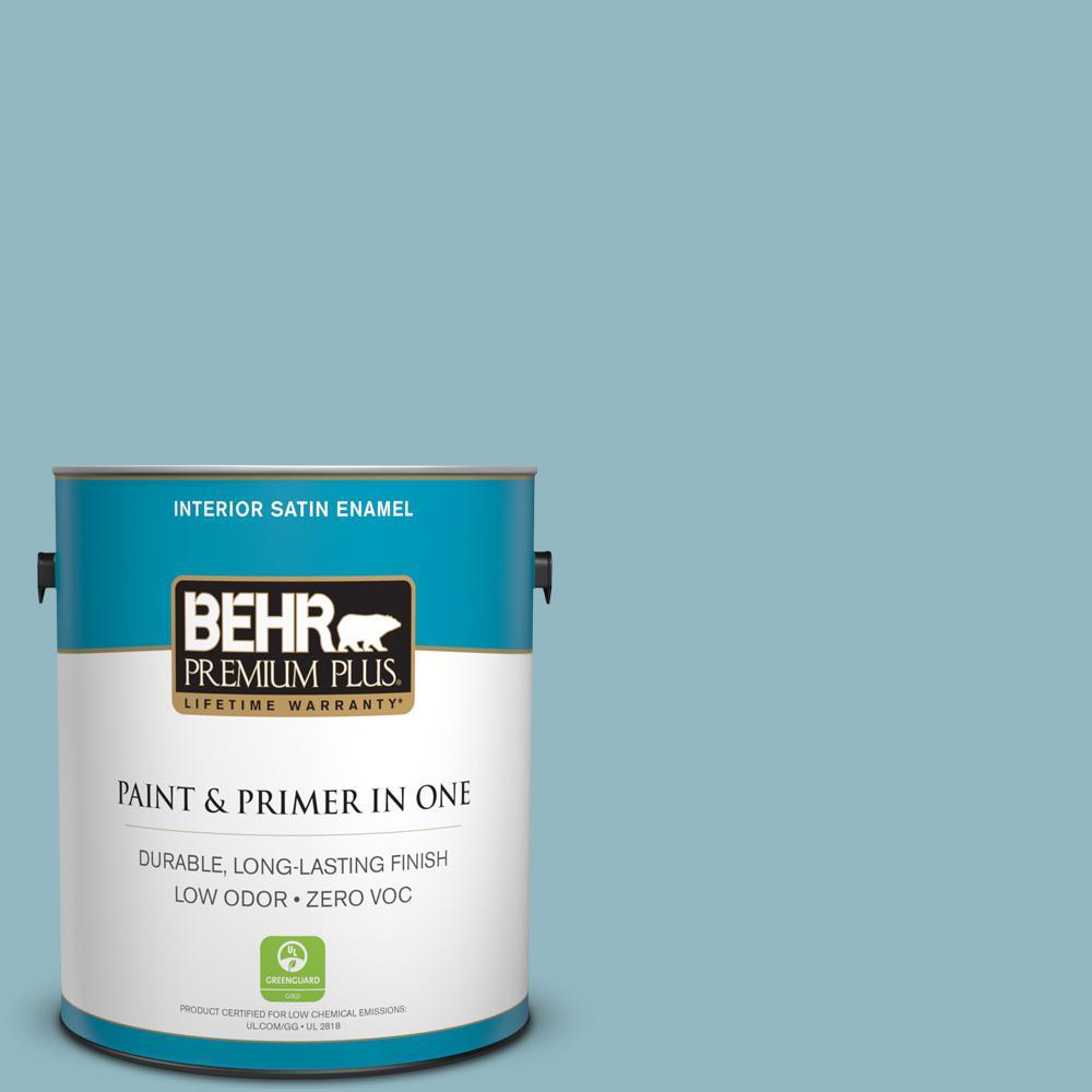 1 gal. #PPU13-09 Tahoe Blue Zero VOC Satin Enamel Interior Paint